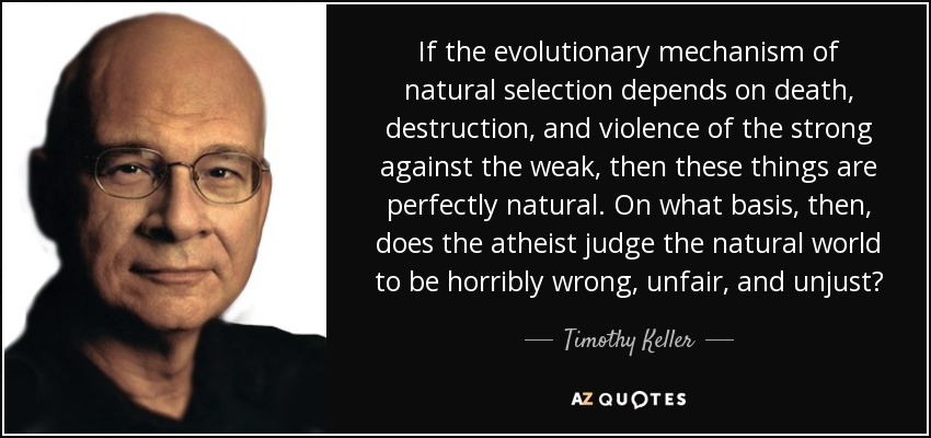 If the evolutionary mechanism of natural selection depends on death, destruction, and violence of the strong against the weak, then these things are perfectly natural. On what basis, then, does the atheist judge the natural world to be horribly wrong, unfair, and unjust? - Timothy Keller