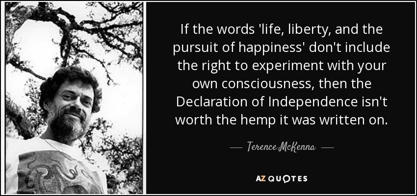 If the words 'life, liberty, and the pursuit of happiness' don't include the right to experiment with your own consciousness, then the Declaration of Independence isn't worth the hemp it was written on. - Terence McKenna