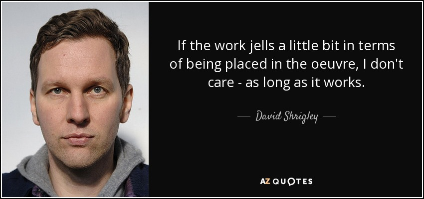 If the work jells a little bit in terms of being placed in the oeuvre, I don't care - as long as it works. - David Shrigley