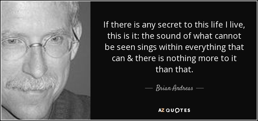 If there is any secret to this life I live, this is it: the sound of what cannot be seen sings within everything that can & there is nothing more to it than that. - Brian Andreas