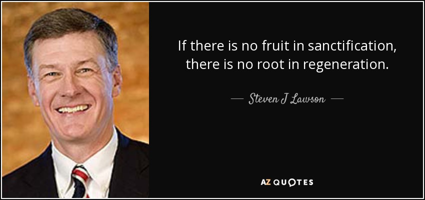 If there is no fruit in sanctification, there is no root in regeneration. - Steven J Lawson