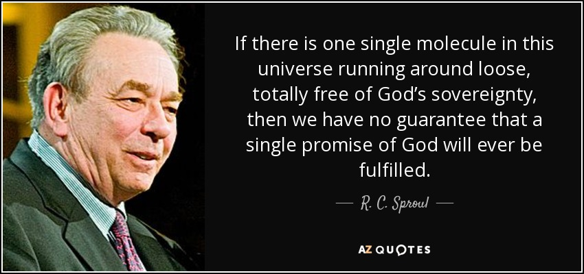 If there is one single molecule in this universe running around loose, totally free of God's sovereignty, then we have no guarantee that a single promise of God will ever be fulfilled. - R. C. Sproul