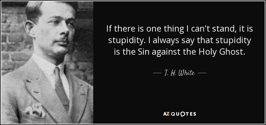 If there is one thing I can't stand, it is stupidity. I always say that stupidity is the Sin against the Holy Ghost. - T. H. White