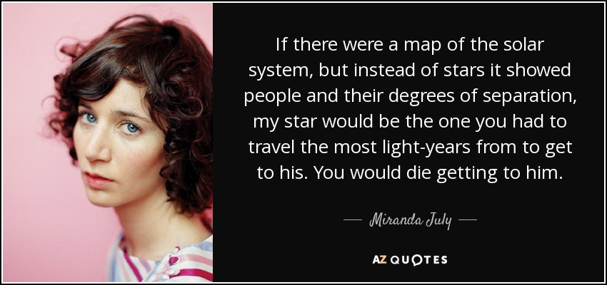 If there were a map of the solar system, but instead of stars it showed people and their degrees of separation, my star would be the one you had to travel the most light-years from to get to his. You would die getting to him. - Miranda July