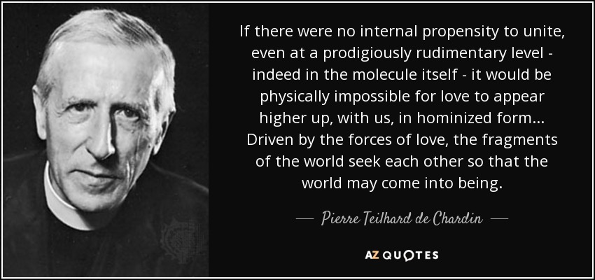 If there were no internal propensity to unite, even at a prodigiously rudimentary level - indeed in the molecule itself - it would be physically impossible for love to appear higher up, with us, in hominized form... Driven by the forces of love, the fragments of the world seek each other so that the world may come into being. - Pierre Teilhard de Chardin