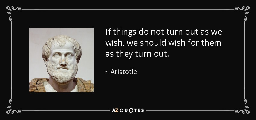 If things do not turn out as we wish, we should wish for them as they turn out. - Aristotle