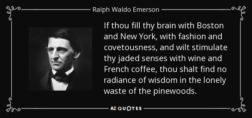 If thou fill thy brain with Boston and New York, with fashion and covetousness, and wilt stimulate thy jaded senses with wine and French coffee, thou shalt find no radiance of wisdom in the lonely waste of the pinewoods. - Ralph Waldo Emerson