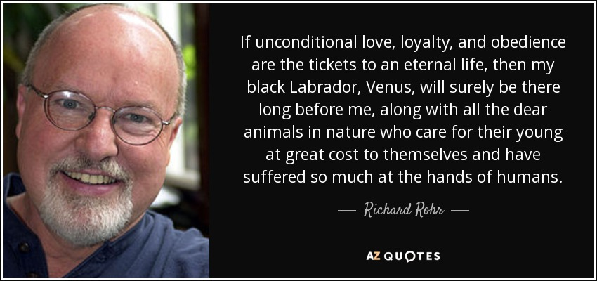 If unconditional love, loyalty, and obedience are the tickets to an eternal life, then my black Labrador, Venus, will surely be there long before me, along with all the dear animals in nature who care for their young at great cost to themselves and have suffered so much at the hands of humans. - Richard Rohr