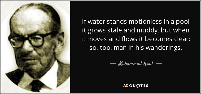 If water stands motionless in a pool it grows stale and muddy, but when it moves and flows it becomes clear: so, too, man in his wanderings. - Muhammad Asad