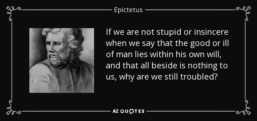 If we are not stupid or insincere when we say that the good or ill of man lies within his own will, and that all beside is nothing to us, why are we still troubled? - Epictetus