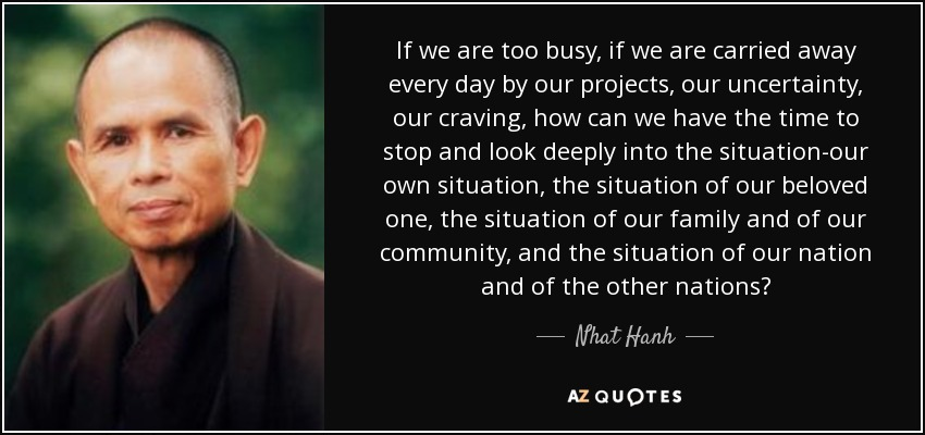 If we are too busy, if we are carried away every day by our projects, our uncertainty, our craving, how can we have the time to stop and look deeply into the situation-our own situation, the situation of our beloved one, the situation of our family and of our community, and the situation of our nation and of the other nations? - Nhat Hanh