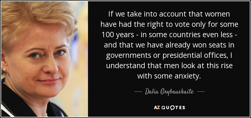 If we take into account that women have had the right to vote only for some 100 years - in some countries even less - and that we have already won seats in governments or presidential offices, I understand that men look at this rise with some anxiety. - Dalia Grybauskaite