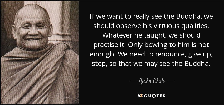 If we want to really see the Buddha, we should observe his virtuous qualities. Whatever he taught, we should practise it. Only bowing to him is not enough. We need to renounce, give up, stop, so that we may see the Buddha. - Ajahn Chah