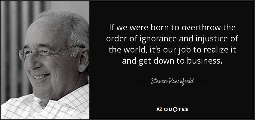 If we were born to overthrow the order of ignorance and injustice of the world, it's our job to realize it and get down to business. - Steven Pressfield