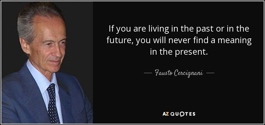 If you are living in the past or in the future, you will never find a meaning in the present. - Fausto Cercignani