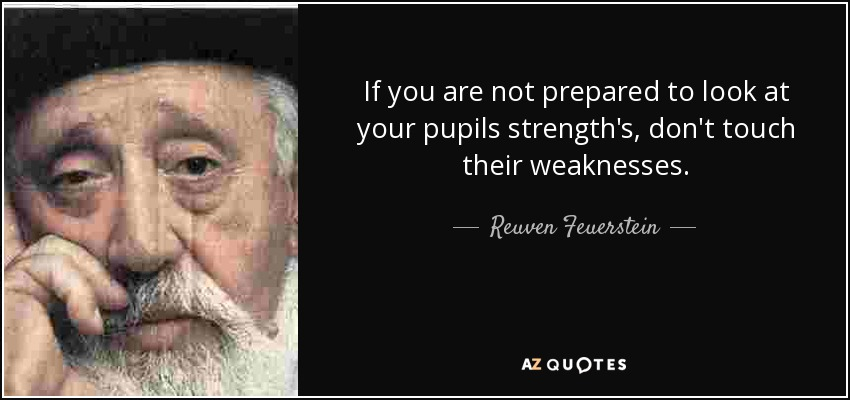 If you are not prepared to look at your pupils strength's, don't touch their weaknesses. - Reuven Feuerstein