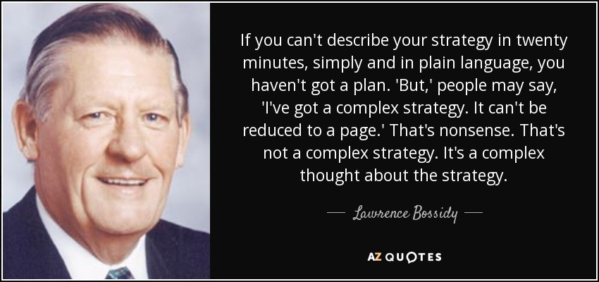 If you can't describe your strategy in twenty minutes, simply and in plain language, you haven't got a plan. 'But,' people may say, 'I've got a complex strategy. It can't be reduced to a page.' That's nonsense. That's not a complex strategy. It's a complex thought about the strategy. - Lawrence Bossidy