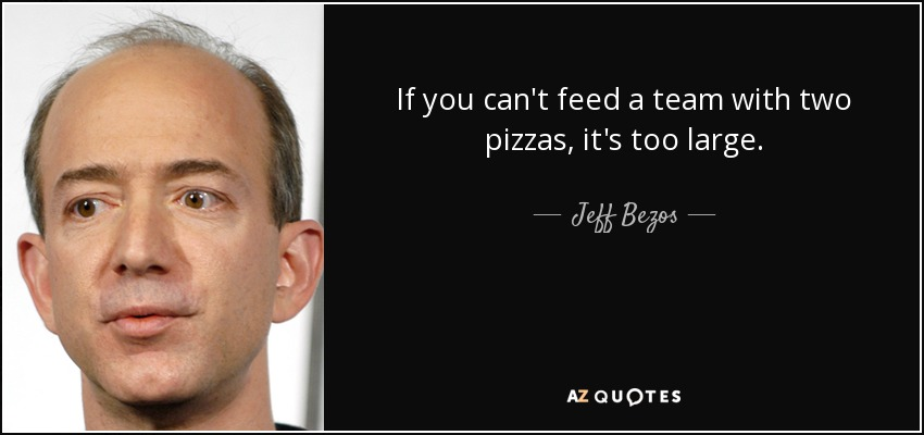 If you can't feed a team with two pizzas, it's too large. - Jeff Bezos