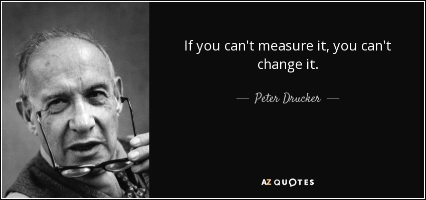 If you can't measure it, you can't change it. - Peter Drucker