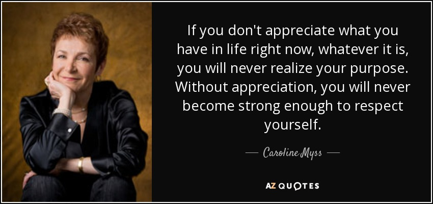 If you don't appreciate what you have in life right now, whatever it is, you will never realize your purpose. Without appreciation, you will never become strong enough to respect yourself. - Caroline Myss