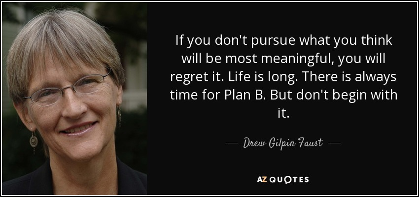 If you don't pursue what you think will be most meaningful, you will regret it. Life is long. There is always time for Plan B. But don't begin with it. - Drew Gilpin Faust
