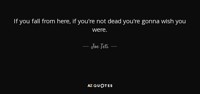 Wish You Were Here Quotes Custom Joe Teti Quote If You Fall From Here If You're Not Dead You're.