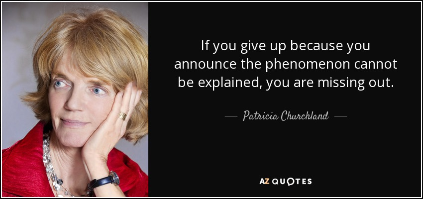If you give up because you announce the phenomenon cannot be explained, you are missing out. - Patricia Churchland