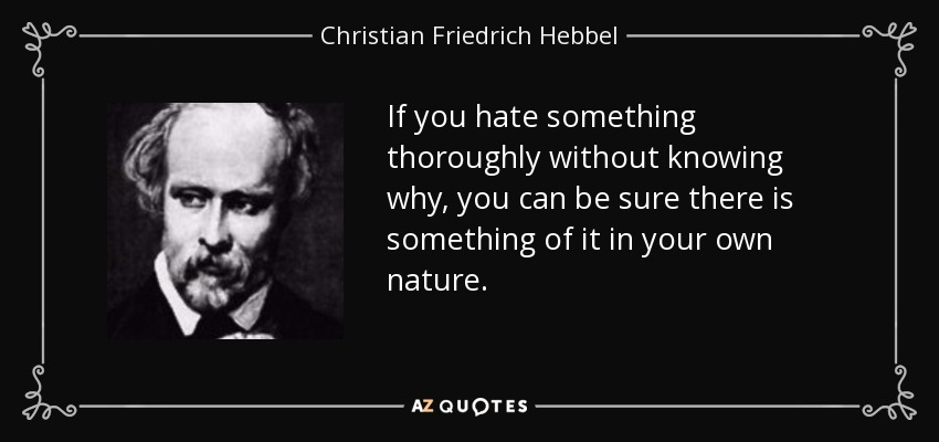If you hate something thoroughly without knowing why, you can be sure there is something of it in your own nature. - Christian Friedrich Hebbel