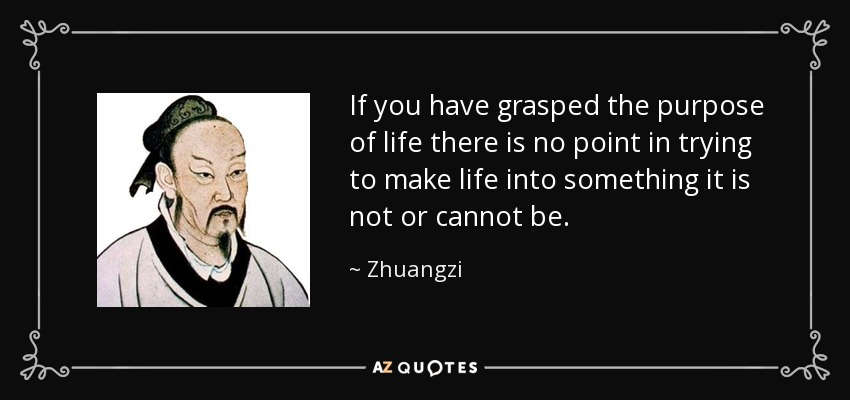 If you have grasped the purpose of life there is no point in trying to make life into something it is not or cannot be. - Zhuangzi