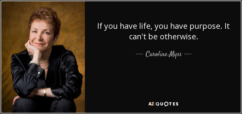 If you have life, you have purpose. It can't be otherwise. - Caroline Myss