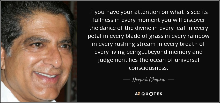 If you have your attention on what is see its fullness in every moment you will discover the dance of the divine in every leaf in every petal in every blade of grass in every rainbow in every rushing stream in every breath of every living being. ...beyond memory and judgement lies the ocean of universal consciousness. - Deepak Chopra