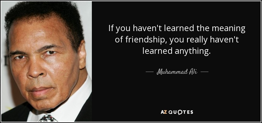 If you haven't learned the meaning of friendship, you really haven't learned anything. - Muhammad Ali
