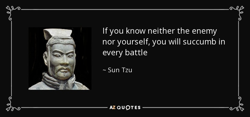 If you know neither the enemy nor yourself, you will succumb in every battle - Sun Tzu