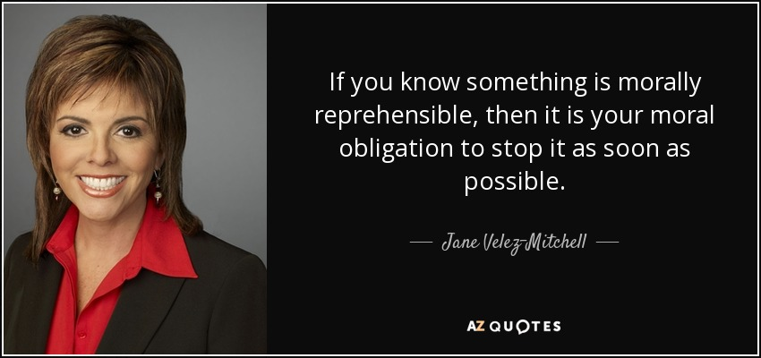 If you know something is morally reprehensible, then it is your moral obligation to stop it as soon as possible. - Jane Velez-Mitchell