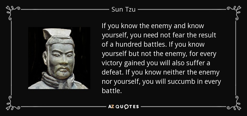If you know the enemy and know yourself, you need not fear the result of a hundred battles. If you know yourself but not the enemy, for every victory gained you will also suffer a defeat. If you know neither the enemy nor yourself, you will succumb in every battle. - Sun Tzu