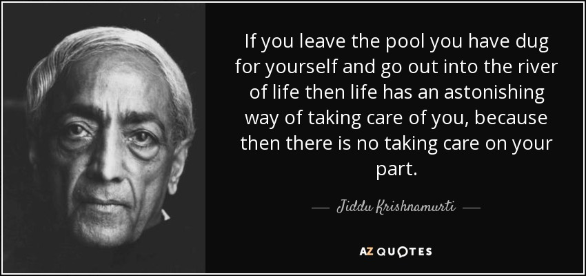 If you leave the pool you have dug for yourself and go out into the river of life then life has an astonishing way of taking care of you, because then there is no taking care on your part. - Jiddu Krishnamurti