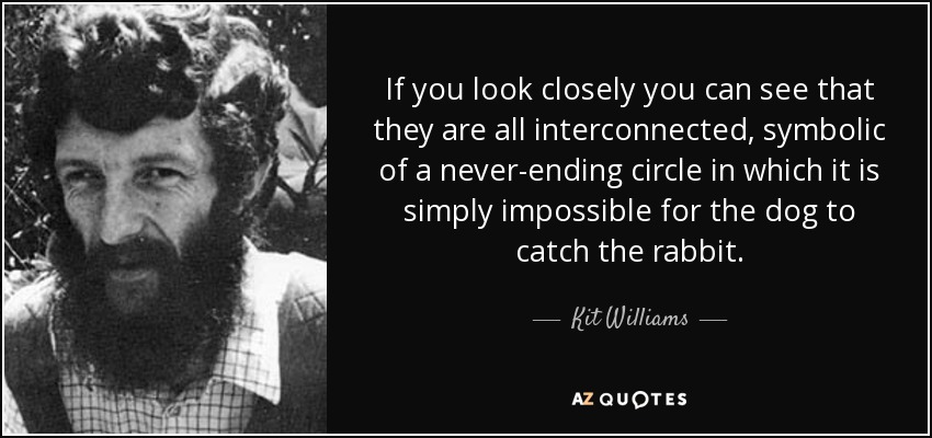 If you look closely you can see that they are all interconnected, symbolic of a never-ending circle in which it is simply impossible for the dog to catch the rabbit. - Kit Williams