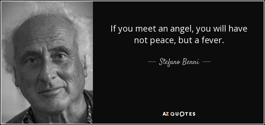 If you meet an angel, you will have not peace, but a fever. - Stefano Benni