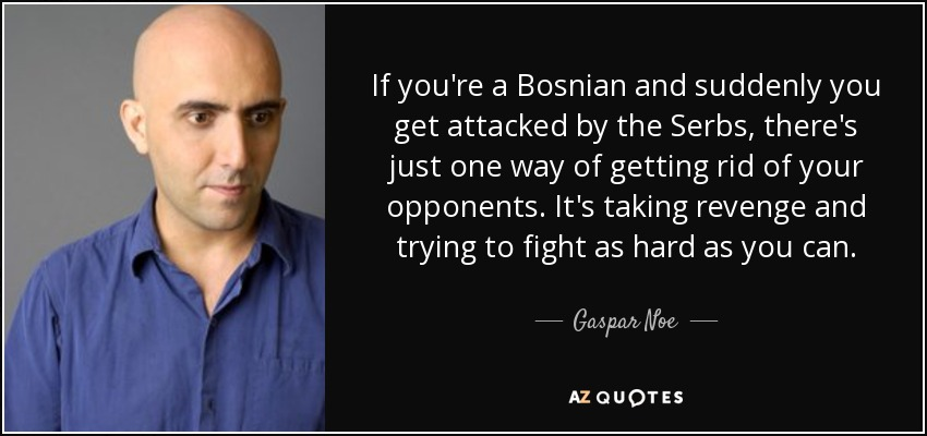 If you're a Bosnian and suddenly you get attacked by the Serbs, there's just one way of getting rid of your opponents. It's taking revenge and trying to fight as hard as you can. - Gaspar Noe