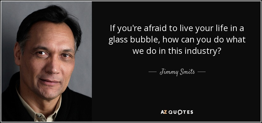 If you're afraid to live your life in a glass bubble, how can you do what we do in this industry? - Jimmy Smits