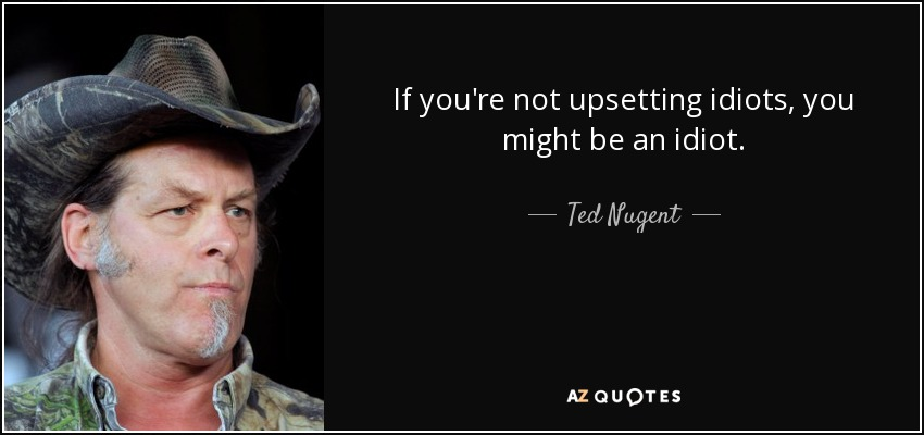 If you're not upsetting idiots, you might be an idiot. - Ted Nugent