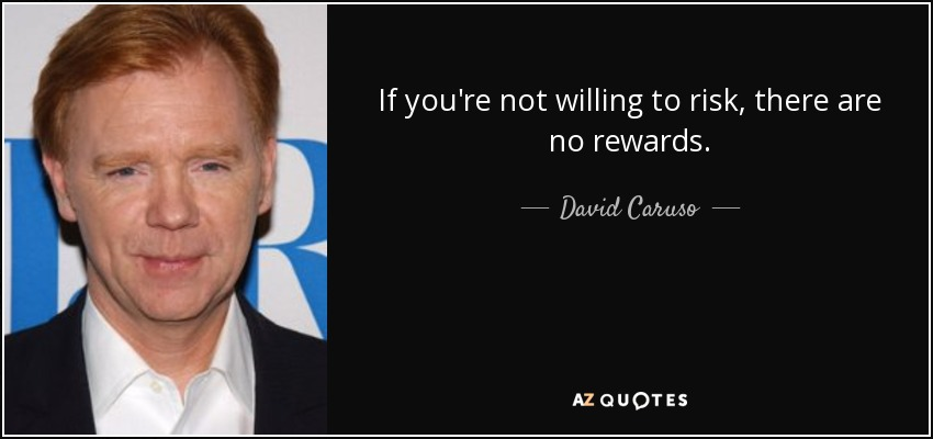 If you're not willing to risk, there are no rewards. - David Caruso