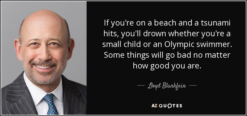 If you're on a beach and a tsunami hits, you'll drown whether you're a small child or an Olympic swimmer. Some things will go bad no matter how good you are. - Lloyd Blankfein