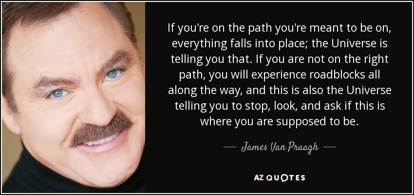 If you're on the path you're meant to be on, everything falls into place; the Universe is telling you that. If you are not on the right path, you will experience roadblocks all along the way, and this is also the Universe telling you to stop, look, and ask if this is where you are supposed to be. - James Van Praagh