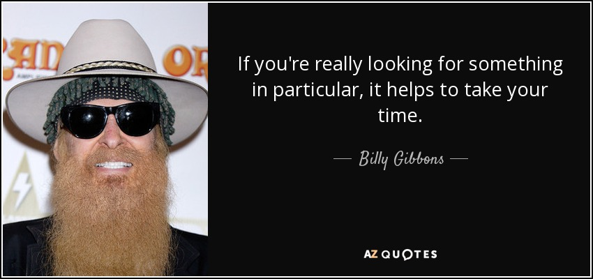 If you're really looking for something in particular, it helps to take your time. - Billy Gibbons
