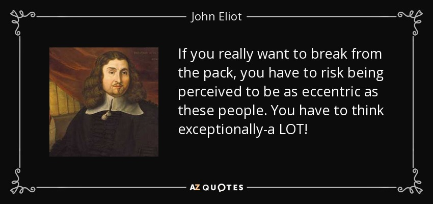 If you really want to break from the pack, you have to risk being perceived to be as eccentric as these people. You have to think exceptionally-a LOT! - John Eliot