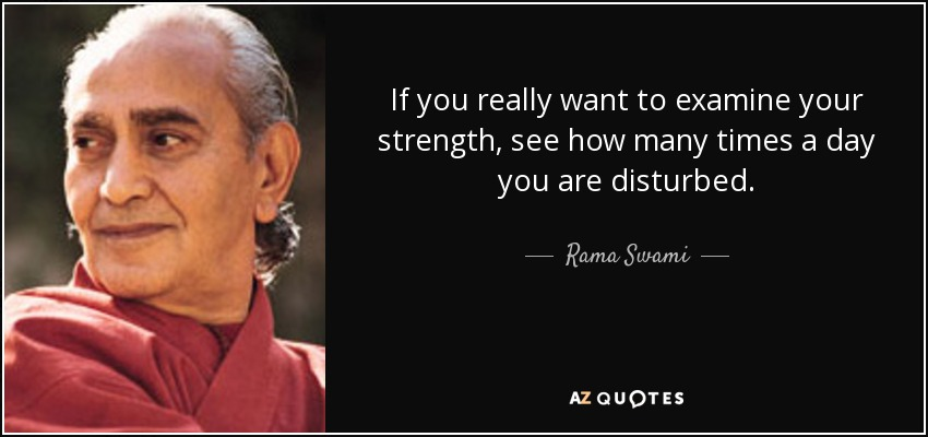 If you really want to examine your strength, see how many times a day you are disturbed. - Rama Swami