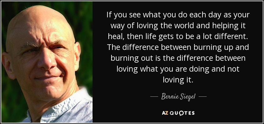 If you see what you do each day as your way of loving the world and helping it heal, then life gets to be a lot different. The difference between burning up and burning out is the difference between loving what you are doing and not loving it. - Bernie Siegel