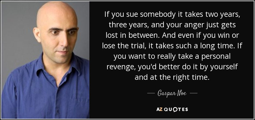 If you sue somebody it takes two years, three years, and your anger just gets lost in between. And even if you win or lose the trial, it takes such a long time. If you want to really take a personal revenge, you'd better do it by yourself and at the right time. - Gaspar Noe