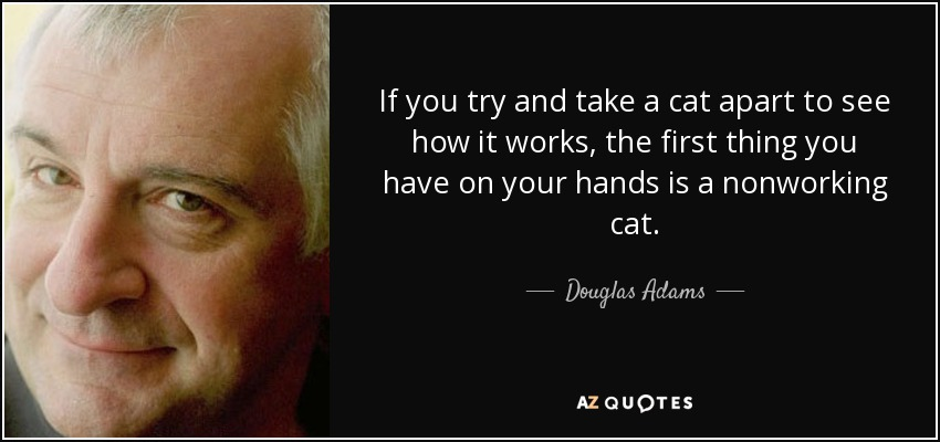 If you try and take a cat apart to see how it works, the first thing you have on your hands is a nonworking cat. - Douglas Adams